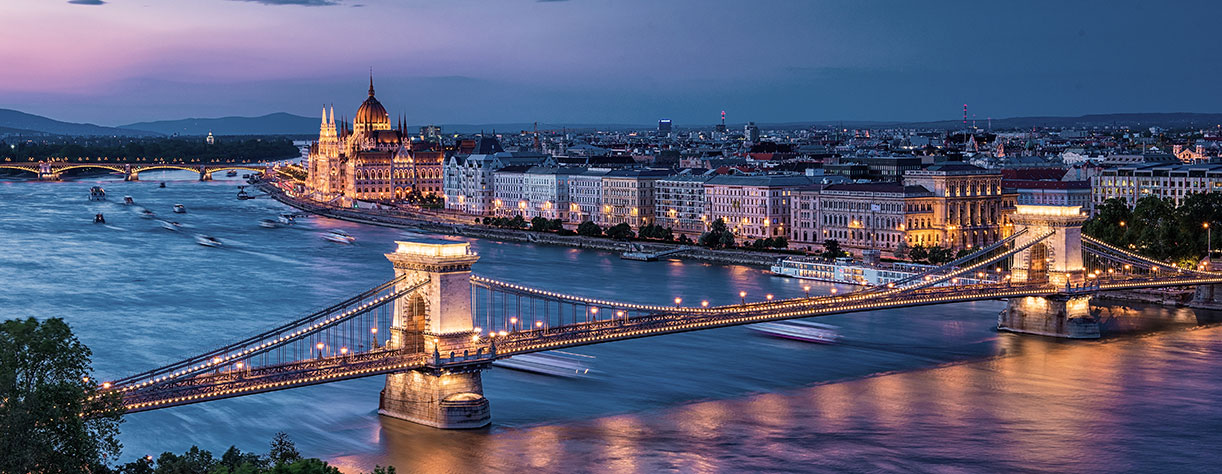 Parliament building on the river Danube, Budapest, Hungary, evening