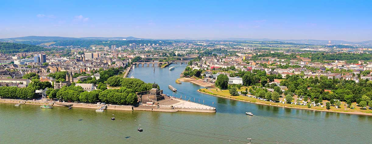Deutsches Eck - headland where the Moselle joins the Rhine, Koblenz, Germany
