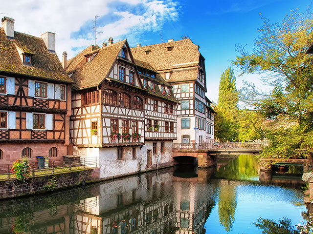 Traditional half timbered hourses in Petitie France, Strasbourg, France