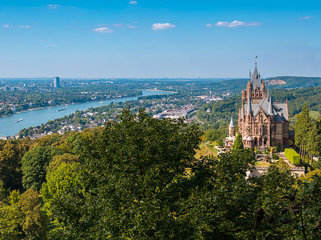 View of the Drachenfel castle, River Rhine