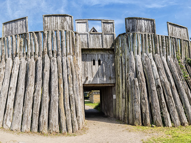 Reconstructed wooden viking fort called a trelleborg in the swedish city of the same name