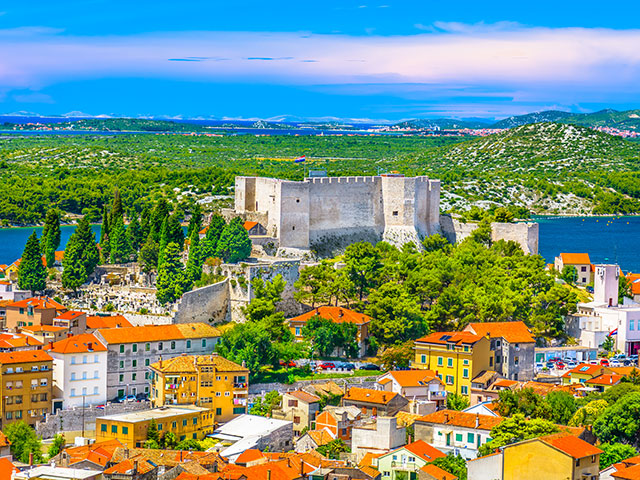 Aerical view at old fort in UNESCO world heritage site, Sibenik, Croatia