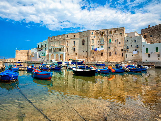 Old port of Monopoli province of Bari, boats in marina