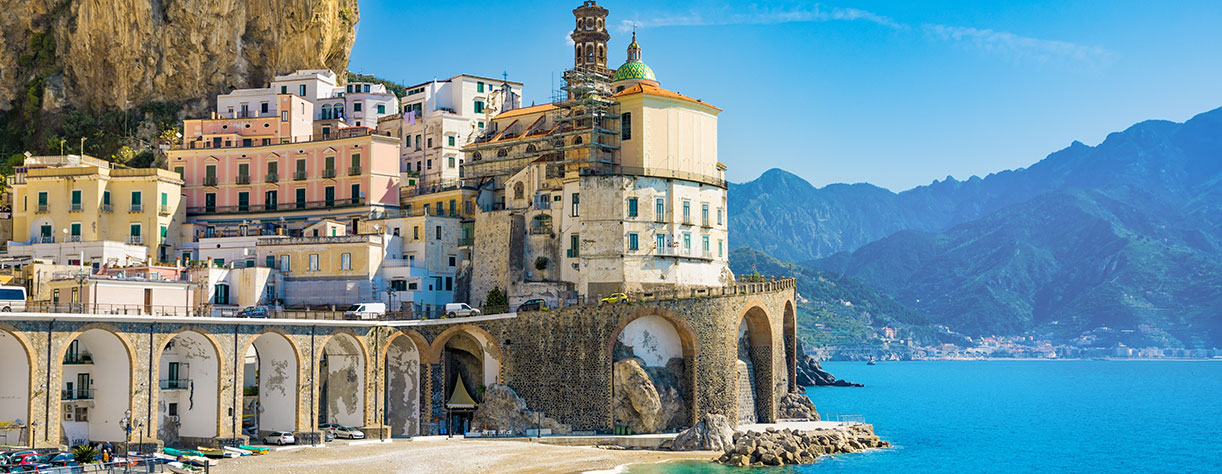 Small town of Atrani on Amalfi Coast in province of Salerno, Campania region