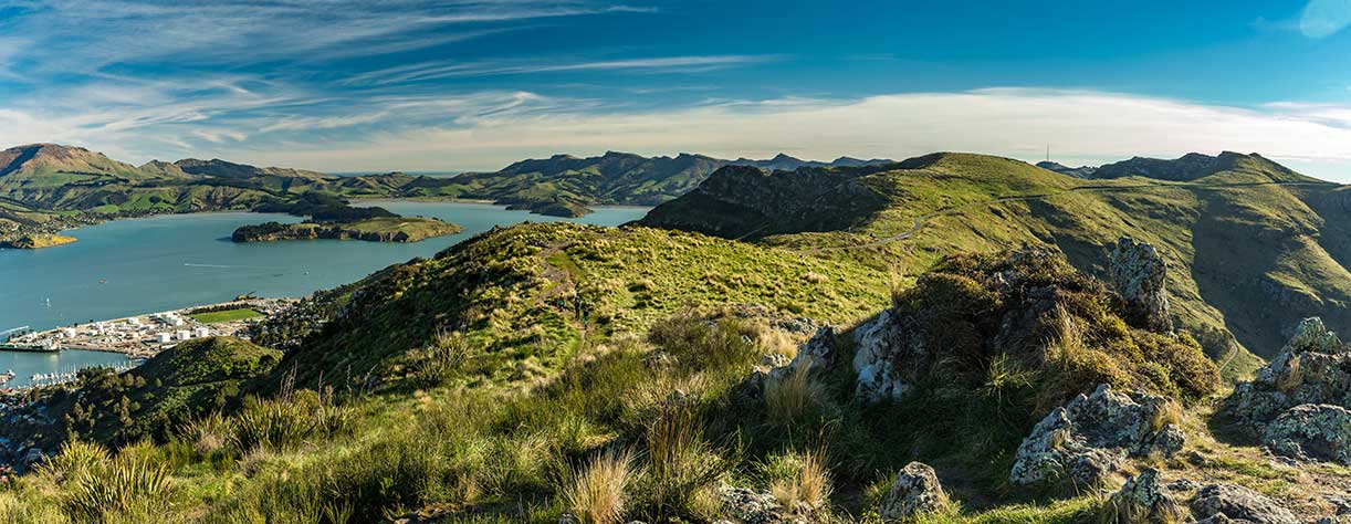 Christchurch and the Lyttelton port from Port Hills in New Zealand