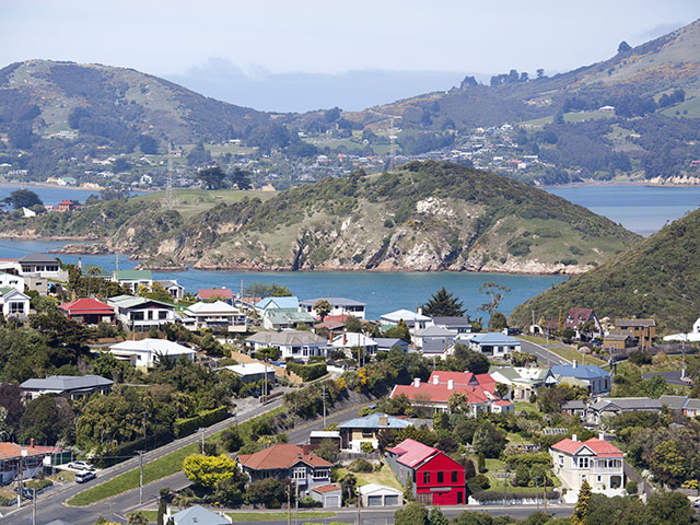 View of Port Chalmers, the suburb of Dunedin city