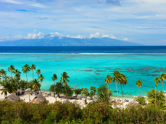 Beautiful coastal landscape of Moorea island in French Polynesia
