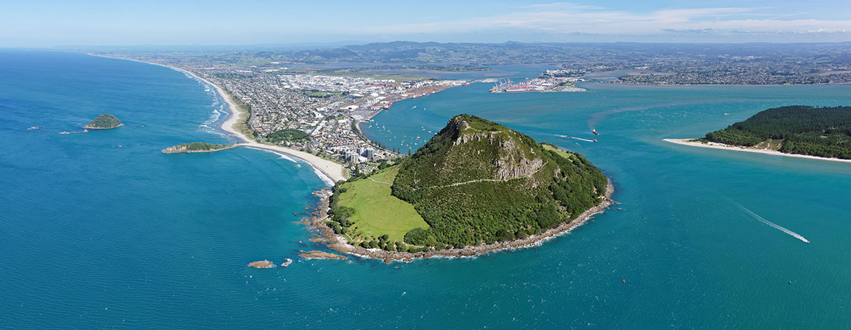 Ariel view of Mount Maunganui and Tauranga, New Zealand