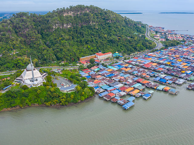 An aerial image of local water village houses, Sandakan City, Malaysia.