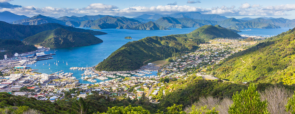 Picton seen from the top of Tirohanga Track