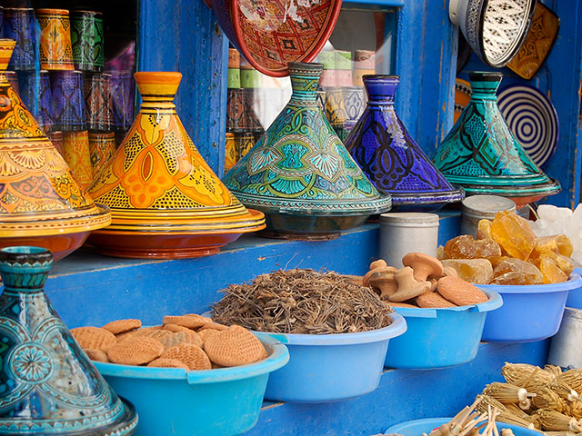 Colourful Tagine plates, Morocco