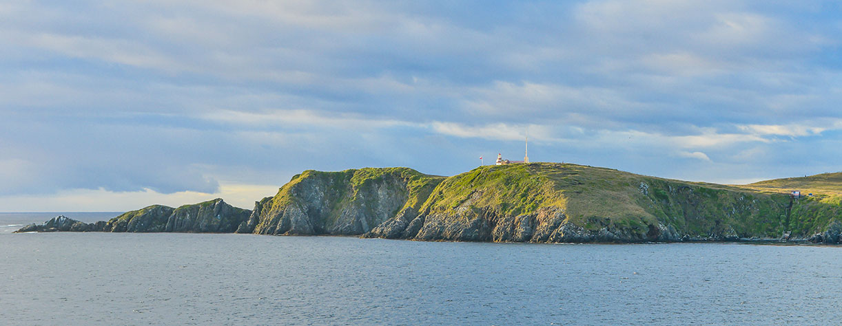 A landscape view of the Cape horn headland, showing lighthouse, Chille