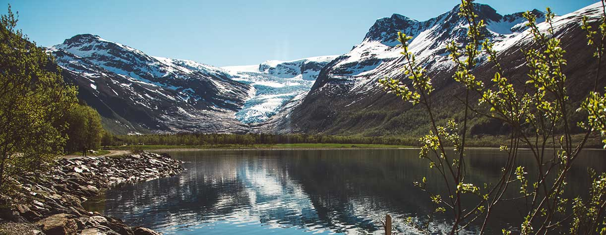 Beautiful scenery of the Svartisen glacier and mountains, Norway