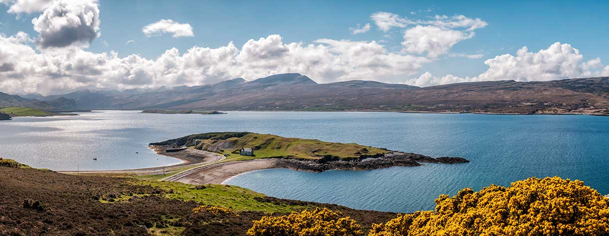 Panoramic view of the lime kilns on Ard Neakie, Loch Eriboll, in Caithness, Scotland