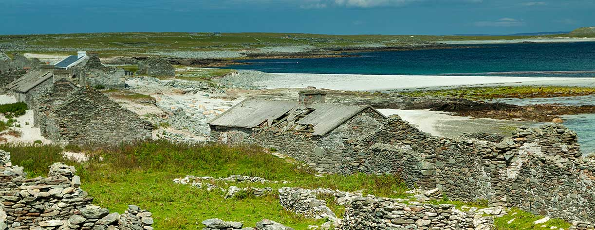 Abandoned village on Inishkea South island on the Wild Atlantic Way in Mayo in Ireland.