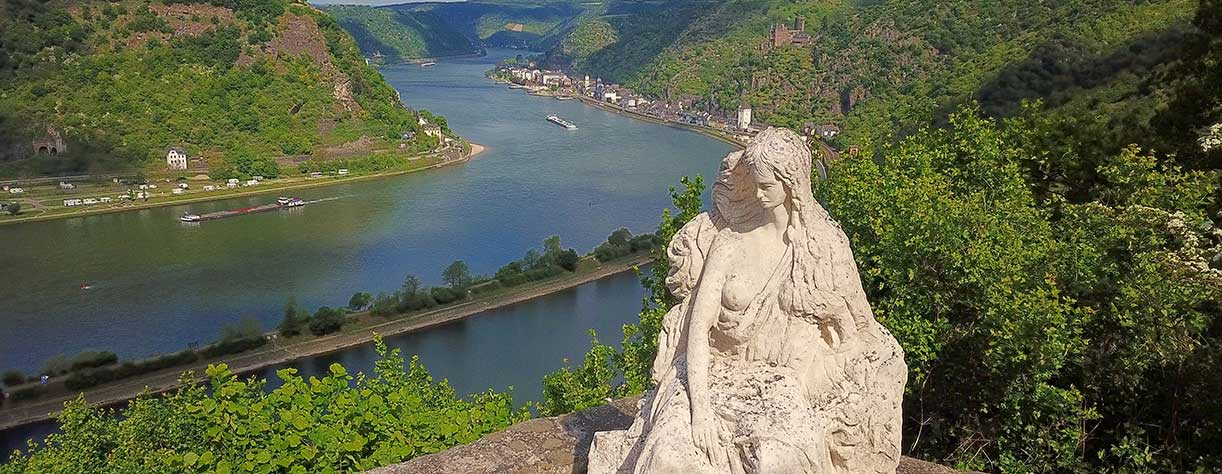 Loreley figure and  Rhine valley Landscape view from the Lore Ley rock Travel Germany