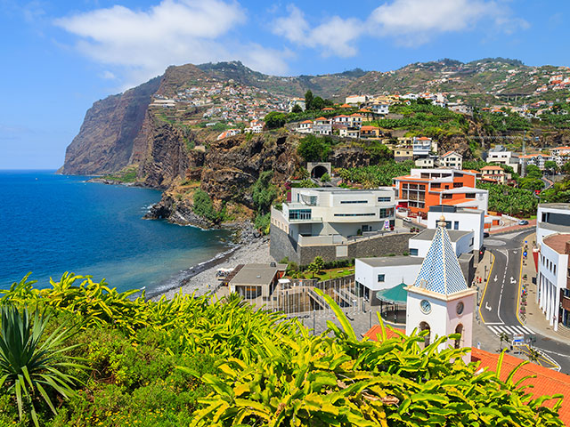 View of Cabo Girao cliff and Camara de Lobos town, Madeira island, Portugal
