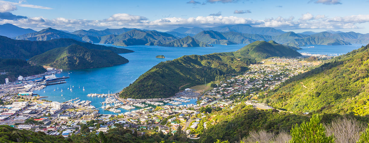 Picton seen from the top of Tirohanga Track, New Zealand