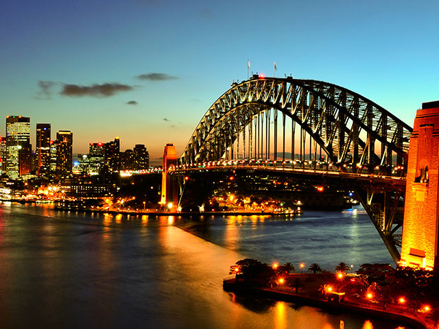 Sydney harbour at night with bridge, Australia