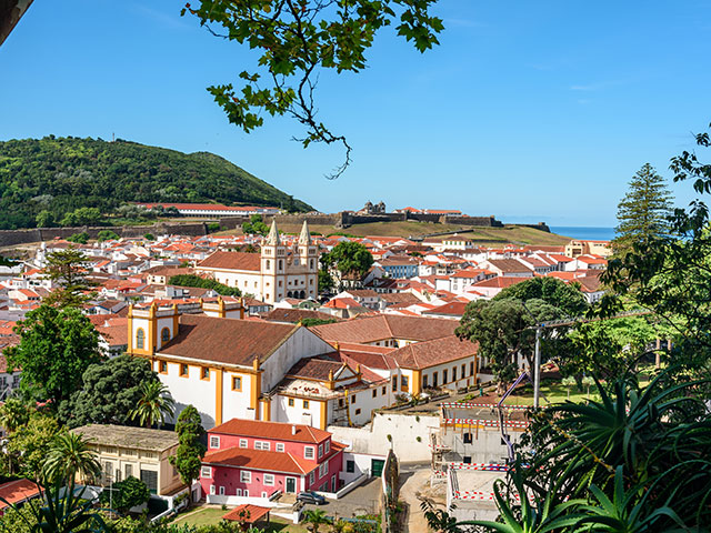 Aerial view of the city of Angra do Heroismo , Azores Portugal