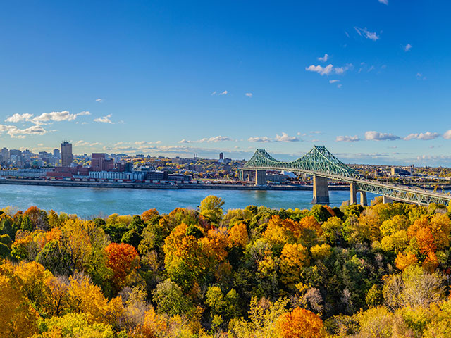 Panorama of Montreal, Quebec, Canada, and the Saint-Lawrence river in fall