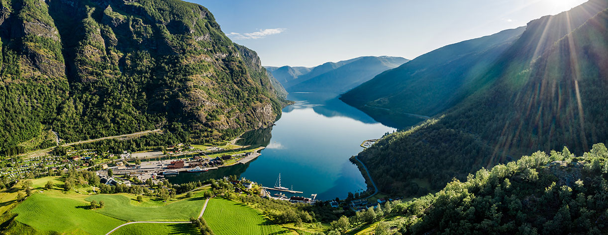 Aurlandsfjord Town Of Flam at dawn. Beautiful Nature Norway natural landscape.