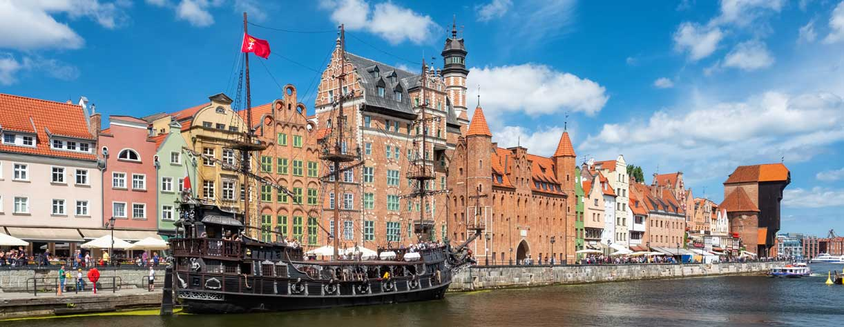 Old town on the river Motlawa, Gdansk, Poland