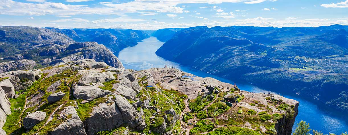 Lysefjord aerial panoramic view from the top of the Preikestolen cliff, Norway