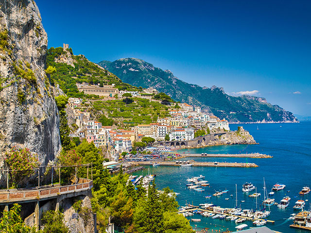 Amalfi Coast with Gulf of Salerno, Campania, Italy