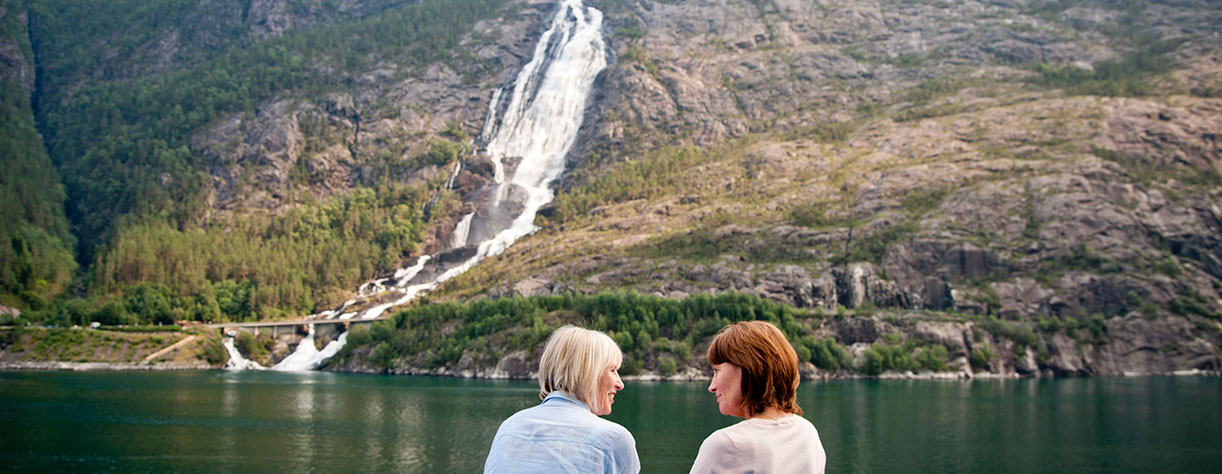 Guests looking out to Langfoss Waterfall, Norway