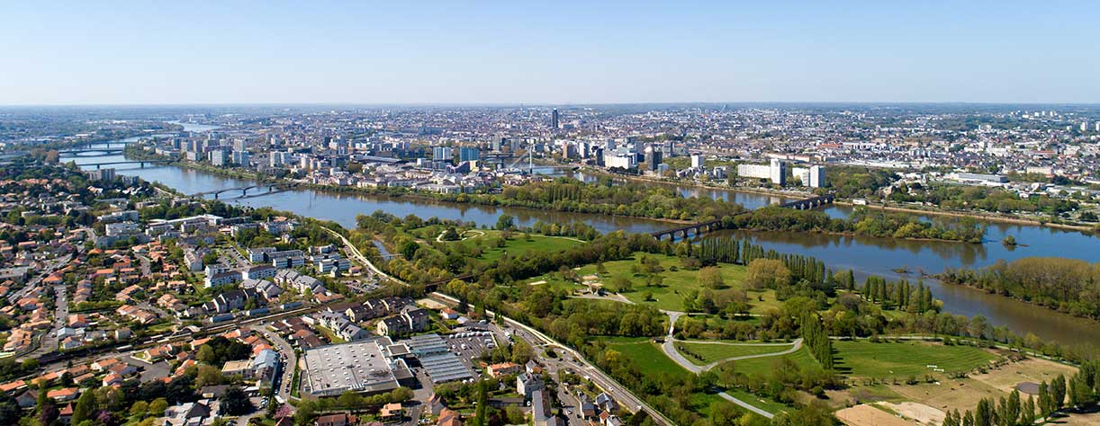Aerial panorama of Nantes city center in Loire Atlantique, France