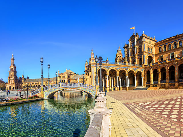 Plaza Espana on sunny day. Seville , Andalusia, Spain.