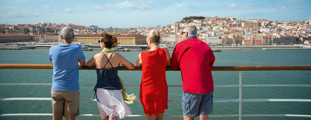 Guests on board arriving into Lisbon, Portugal